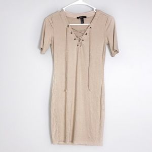 3/$50 FOREVER 21 LACE UP RIBBED TAN SHIRT DRESS